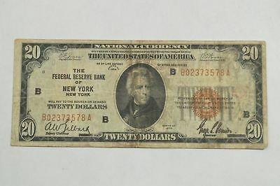 Series 1929 $20 National Currency From Fed. Res. Bank of New York New York *Q05