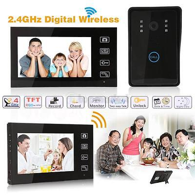 "7"" Wireless Video Home Door Digital Phone Doorbell Intercom CCD Camera Monitor"