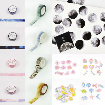 DIY Floral Scenery Paper Sticky Adhesive Sticker Scrapbooking Books Washi Tapes