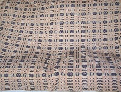 Antique Wool & Linen Coverlet Geometric / Overshot Brown / Pink Beige / Tan Ex.