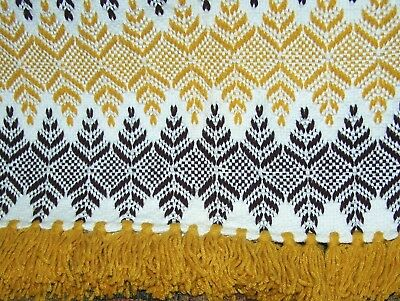 Jacquard Coverlet / Throw Brown, Gold, White, Hand Knotted Fringe, Hand Hemmed