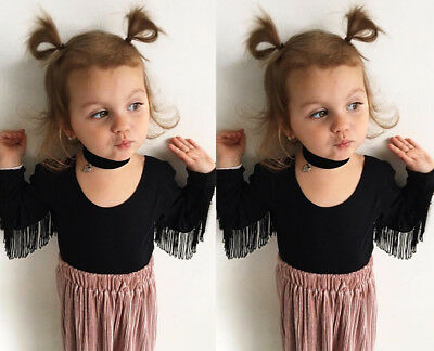 US Stock Fashion Toddler Kids Baby Girls Tassel Tops Long Sleeve T-shirt Clothes
