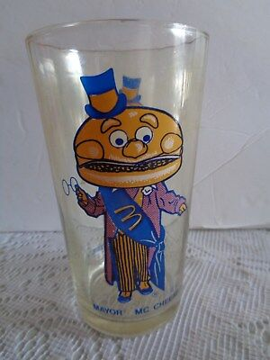 "1977 Mcdonalds Vintage Mayor Mc Cheese 5"" Tall Glass Drinking Glass Collectable"