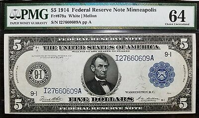 DH FR 879a 1914 $5 Reserve Note Minnesota UNC 64