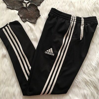 Girls ADIDAS Clima Cool Track Pants Black Yoga Fitness Zip-Ankle LARGE Age 13-14