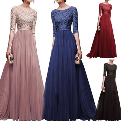 Womens Elegant Chiffon Lace Long Dress Cocktail Prom Evening Party Ball Gown