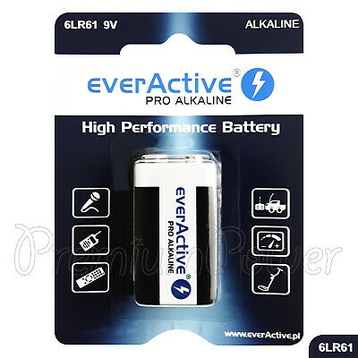 1 x everActive 9V battery PRO Alkaline 9LR61 6LF22 E-Block Pack GREAT VALUE