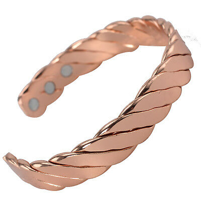 MAGNETIC Solid Copper TWISTED ROPE Bracelet Healing Arthritis Pain Relief