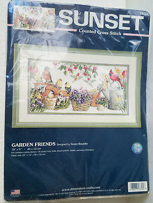 NEW Sunset Garden Friends Counted Cross Stitch Kit 2005 Dimensions Rare