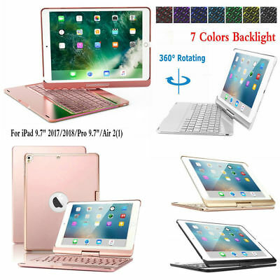 Backlit Keyboard 360 Rotation Case Smart Cover For iPad 9.7 2017 Pro 9.7 Air 2/1