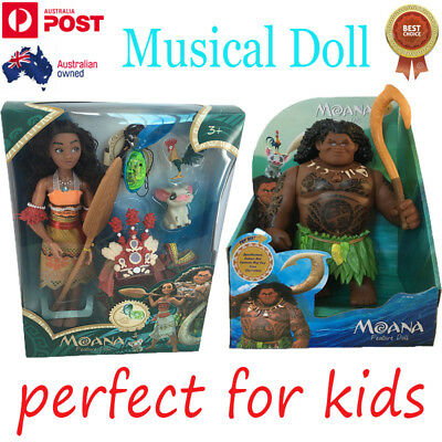 Musical Singing Moana & Maui Doll Light Movie Song Kids Action Figures Toys Gift
