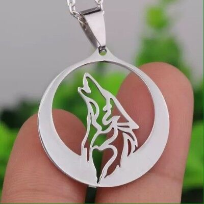 Wolf Howling Silver Lone Wolf Pendant Necklace Norse Wolf Fenir Full Moon New