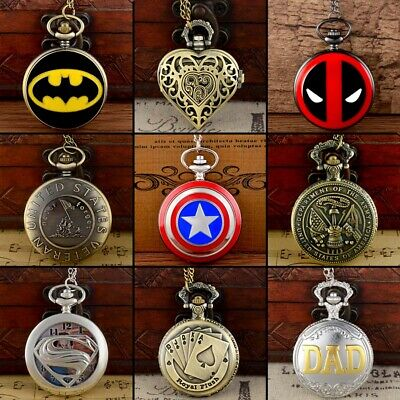 Antique Steampunk Superhero Pocket Quartz Watch Vintage Pendant Necklace Chain