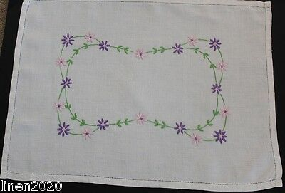 Vintage off-white linen hand embroidered flower tray cloth.