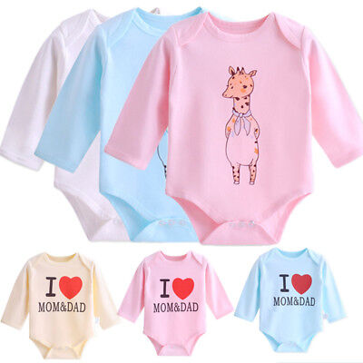 Long Sleeved 100% Cotton Baby Romper Baby Cartoon Creeping Cuit T-shirt Clothing