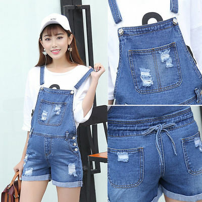 Denim Dungaree Shorts Jeans Maternity Jumpsuits Trendy Cute 6 8 10 12 14 16