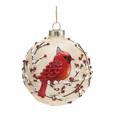 "New Burton & Burton Ornament 4"" Round Glass Red Cardinal"