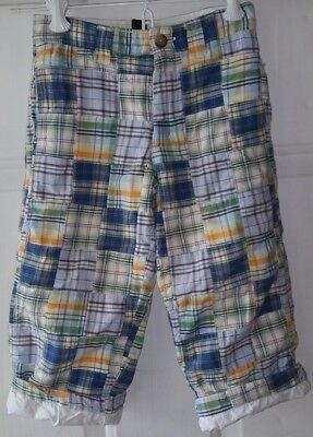 Baby Gap Boys 3T Madras Plaid Patchwork Fully Lined PANTS Preppy