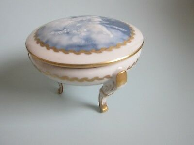 Limoges Porcelain Tharaud Pate Sur Pate Trinket Box Signed Cherubs in Clouds