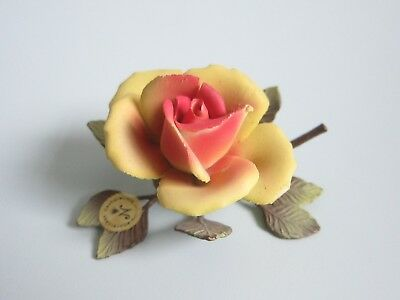 Capodimonte Italy Painted Porcelain Rose on metal branch Vintage  Ornament 1950s