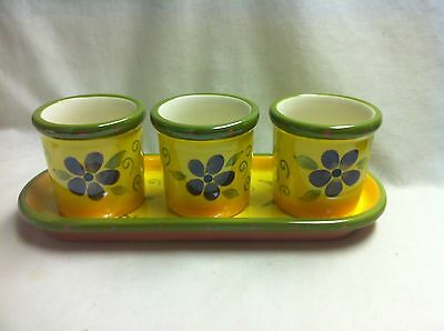 PARTYLITE- Flower Pot Trio - Three Yellow votive Holders and Tray