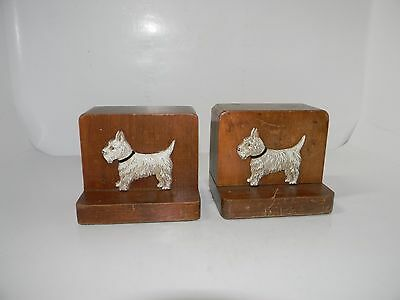 Antique Wood Pottery Scottish Terrier Scottie Dog Bookends RARE Estate Find