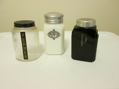 Group of 3 Vintage Deco Style  Range Top Pepper Shakers