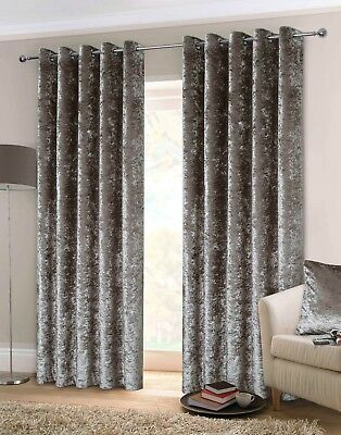 Rapport Luxury Heavy Weight Fully Lined Crushed Velvet Curtains Eyelet Silver