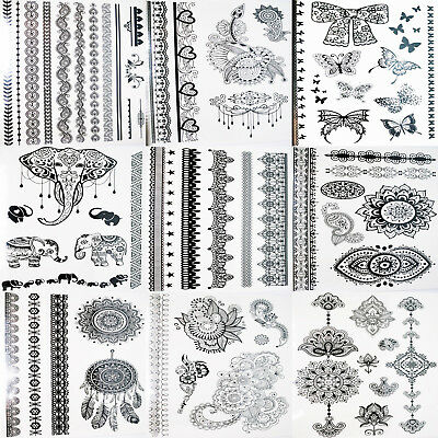Tattoos Henna Temporary Body Art Black 43 design to choose - transfer sheet