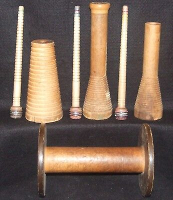 Assorted 7-Piece Lot of Antique Wooden Bobbins, Spindles, Spools, & Quills