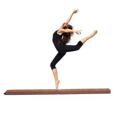 Folding Balance Beam Training Gift Suede Gymnastics Home Gym 8ft