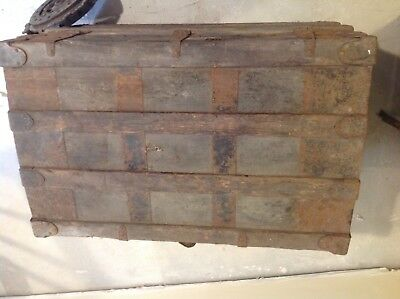 Wood, fabric and Metal Steamer Trunk Vintage Antique