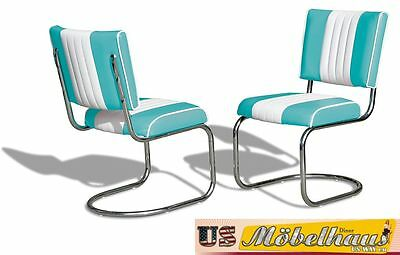 CO-27 Turquoise Bel Air Furniture 2 Chairs Swingstuhl Diner Kitchen USA