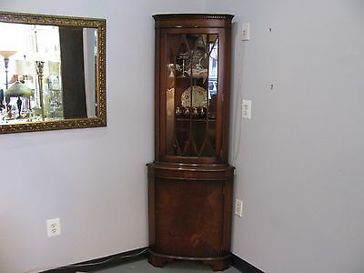 Pair Vintage Flame Mahogany Corner Cabinets - TWO - Keys - Very Fine Condition