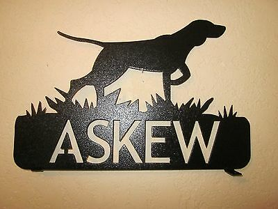 Custom Bird Dog Mailbox Topper (Your  Name) Steel Black Powder Coat Finish
