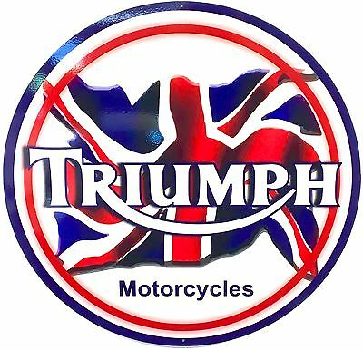 "Triumph Motorcycle - Large 24"" Diameter Aluminum Sign"