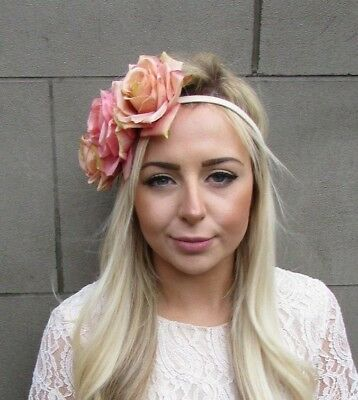 Nude Pink Cream Rose Flower Headband Festival Garland Crown Hair Crown Boho 5076