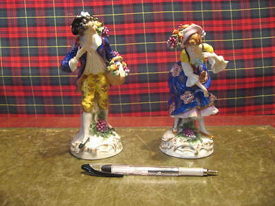 A Pair Of Large Dresden Figures Of Fruit Sellers Superb Quality /3884