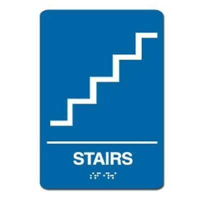 """Stairs ADA Sign 6"""" x 9"""", White on Blue"""
