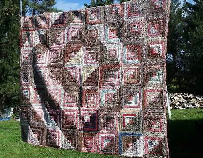 ANTIQUE 1800's Hudson Valley FOLK ART LOG CABIN QUILT Beige Red Blue NR!