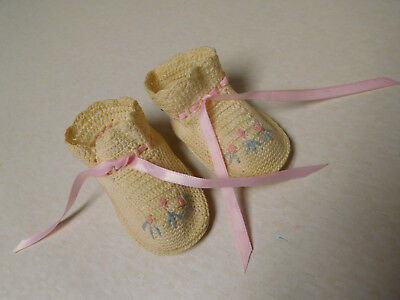 Vintage Antique Crochet Needlepoint Ribbon Baby Doll Booties Shoes Slippers