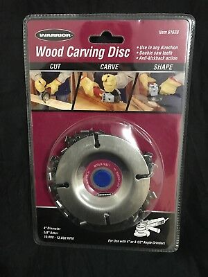 "WARRIOR Wood Carving Chain Saw Disc 4"" or 4-1/2"" Angle Grinders 5/8 arbor 61638"
