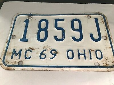 Original Old Antique As Found Steel 1969 Ohio Motorcycle License Plate 1859 J