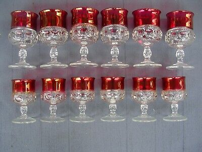 12 Tiffin Kings Crown Ruby Flash Thumbprint, 6 Water or wine & 6 Cordial Glasses