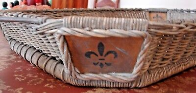 Vintage Large French Wicker Wood And Iron Serving Tray Fluer Di Lis Farmhouse