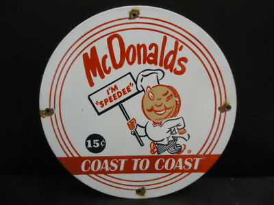 "VINTAGE ORIGINAL McDONALD""S  PORCELAIN SIGN  15 CENTS HAMBERGERS COAST TO COAST"