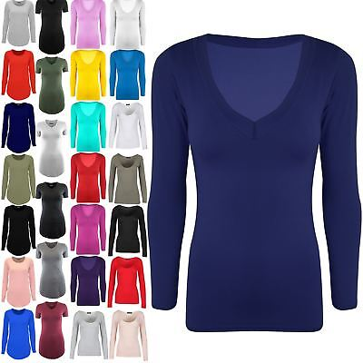 Ladies Womens Casual Jersey Stretchy V Neck Plain Long Sleeves Tunic T Shirt Top