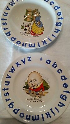 Wood & Sons Child's Bowl and Plate ABC Nursery Rhyme Green Blue Alphabet Set