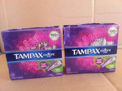2 Tampax Radiant Plastic Unscented Tampons Super Absorbency 32 Count Each