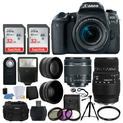 Canon EOS 77D DSLR Camera + EF-S 18-55mm IS STM + Sigma 70-300mm + 64GB Full Kit